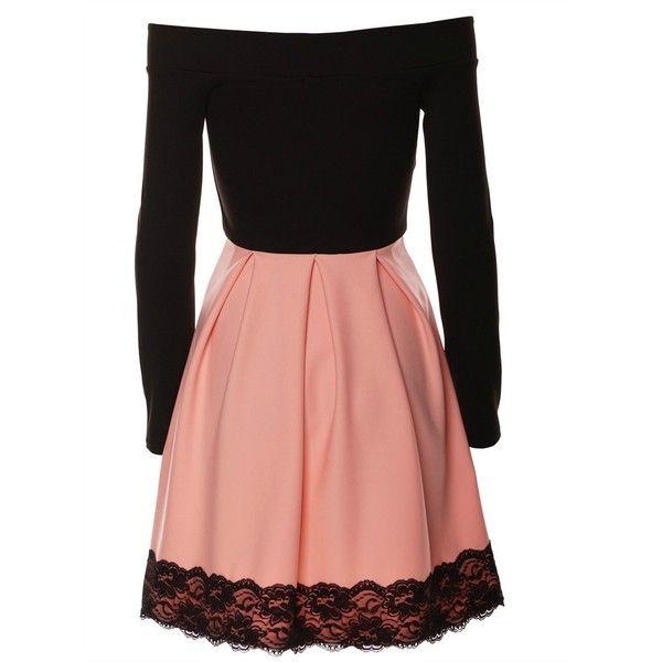 Angela Skater Dress in Blush ($45) ❤ liked on Polyvore featuring dresses, skater dress, cold shoulder skater dress, red skater dress, long-sleeve skater dresses and longsleeve dress