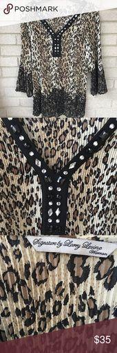 Larry Levine Woman Animal Print Pleated Tunic Top Larry Levine Woman Spotted Ani...,  #ANI #Animal #Jewelsmoke #Larry #Levine #pleated #print #Spotted #Top #Tunic #Woman