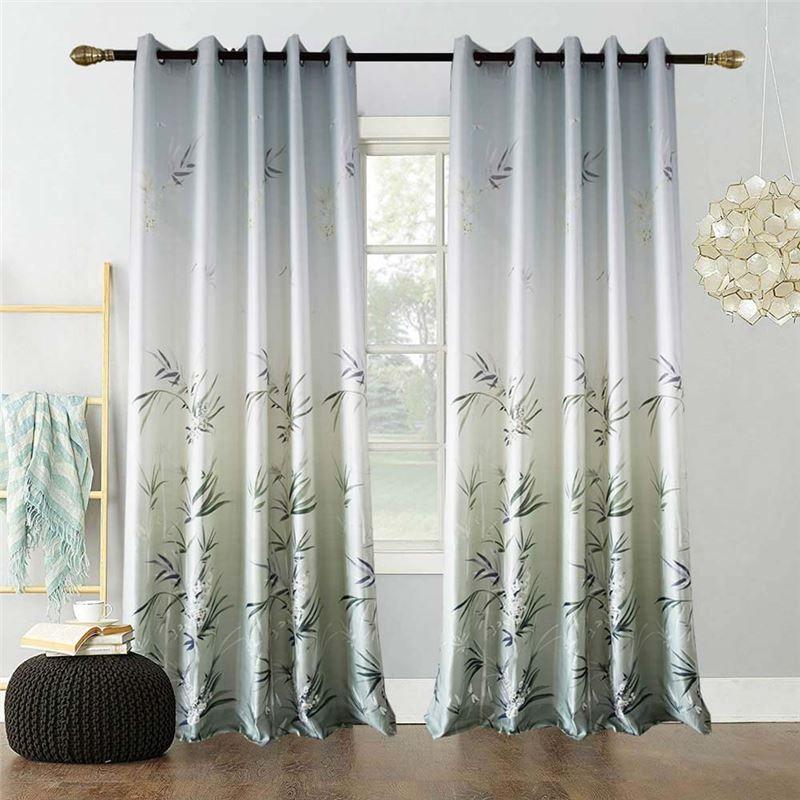Green Bamboo Curtain Modern Printing Semi Blackout Curtain Living