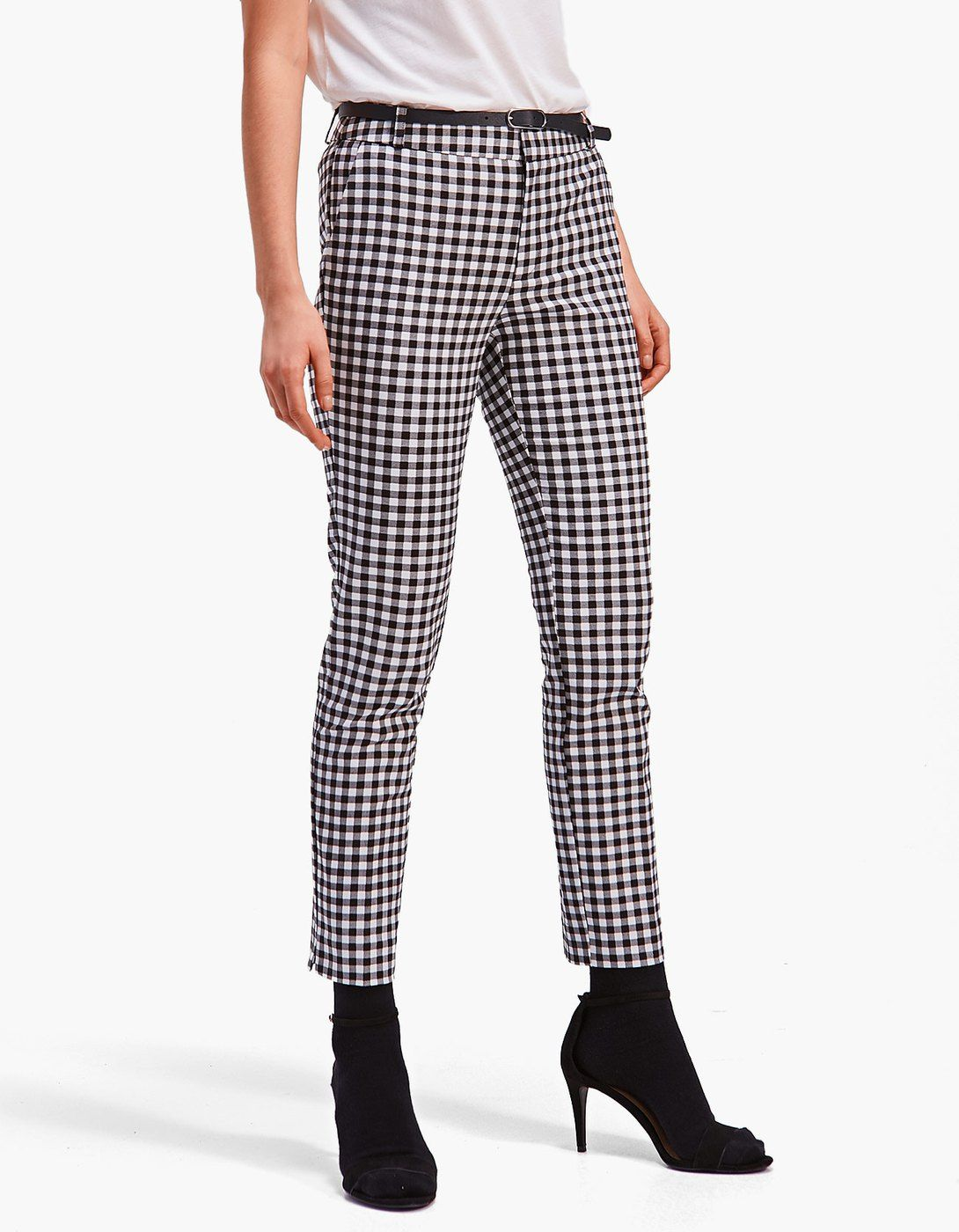 Pantalón vestir con cinturón vichy - Pantalones  e84e4de6d74d