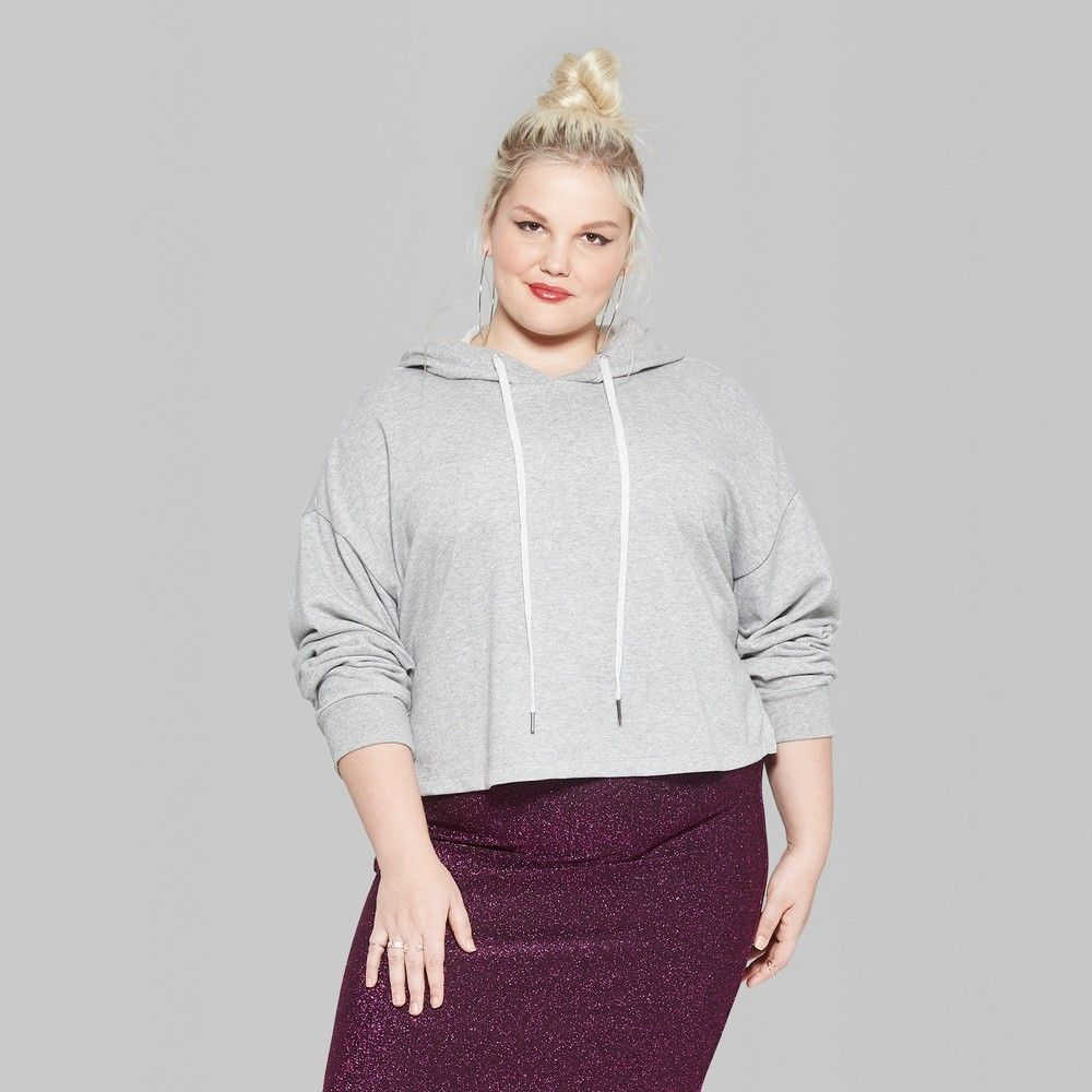 0975f040aacea Women s Plus Size Long Sleeve Lurex Cropped Hoodie - Wild Fable Heather  Gray 1X