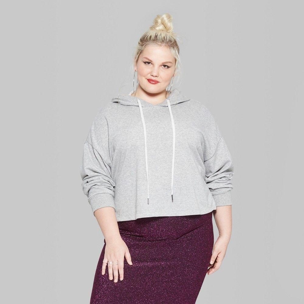 0975f040aacea Women s Plus Size Long Sleeve Lurex Cropped Hoodie - Wild Fable Heather  Gray 1X
