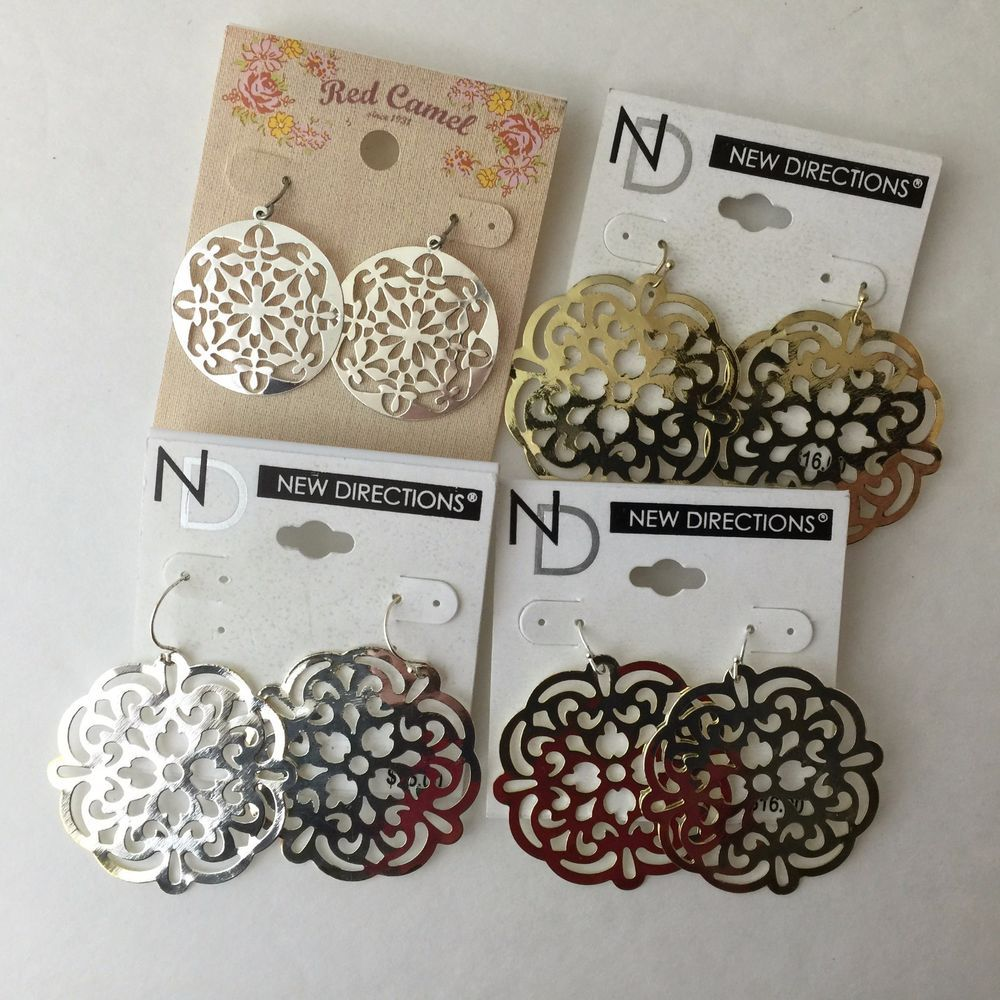 Cute, Lightweight #newdirections Round And Flat Design Costume #earrings  Gold & Silver