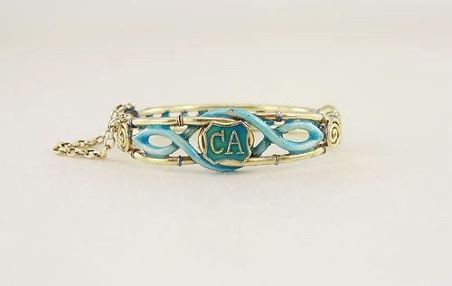 """A real pity I couldn't get this one... Republican-era enameled silver gilt Chinese bracelet, with """"CA"""" monogrammed shield... very nice indeed."""