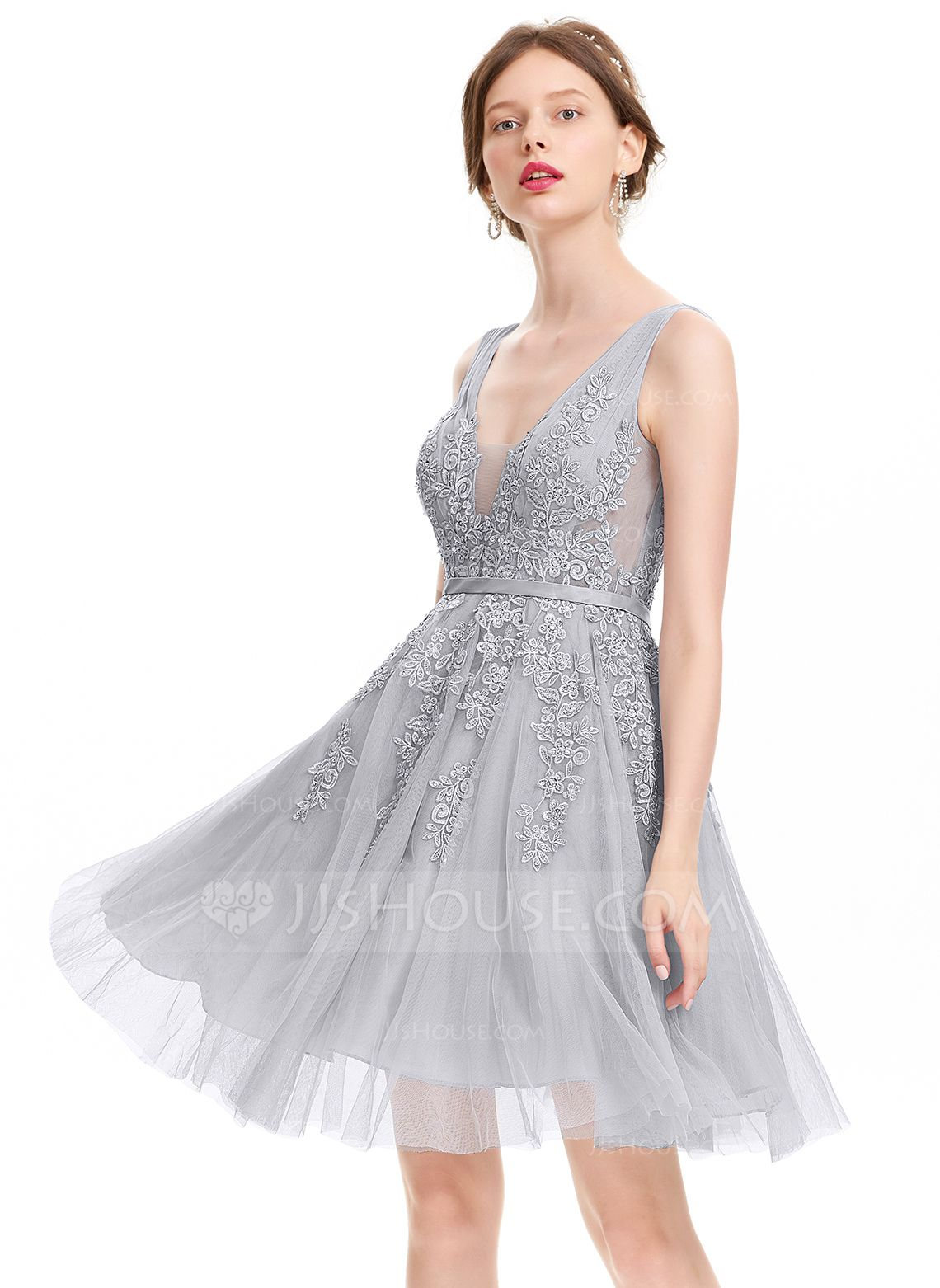 US$ 12.12] A-Line V-neck Knee-Length Tulle Homecoming Dress With