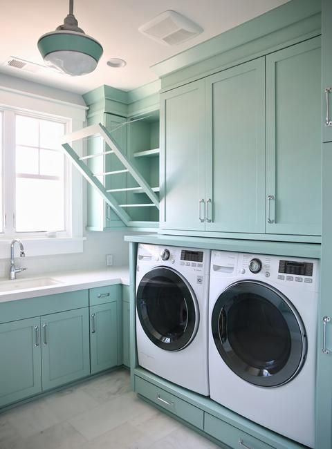 Space Saving Racks Adding Eco Accents To Laundry Room Design With