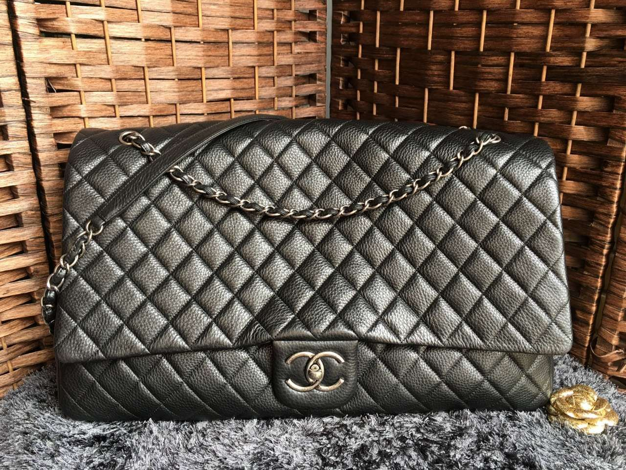 2a1d27a89bae Chanel Classic Flap Bag XXL Large Metallic Calfksin A91169  Whatsapp:+8615817091613 for more pics and other payment options.