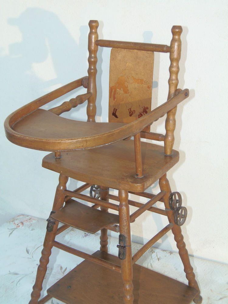 Belle Chaise Haute En Bois Pour Poupee Ancienne Mickey Serigraphie Sur Dossier Chaise Haute Bois Chaise Haute Bois