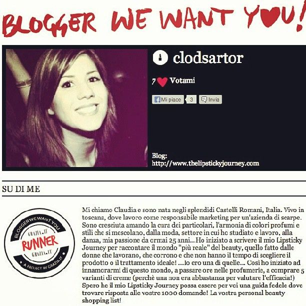 From this week #thelipstickyjourney became #runner of #grazia #contest #bloggerswewantyou #vote #me #beautyblog #winner #grazia.it #itblogger #italy - More infos at www.thelipstickyjourney.com