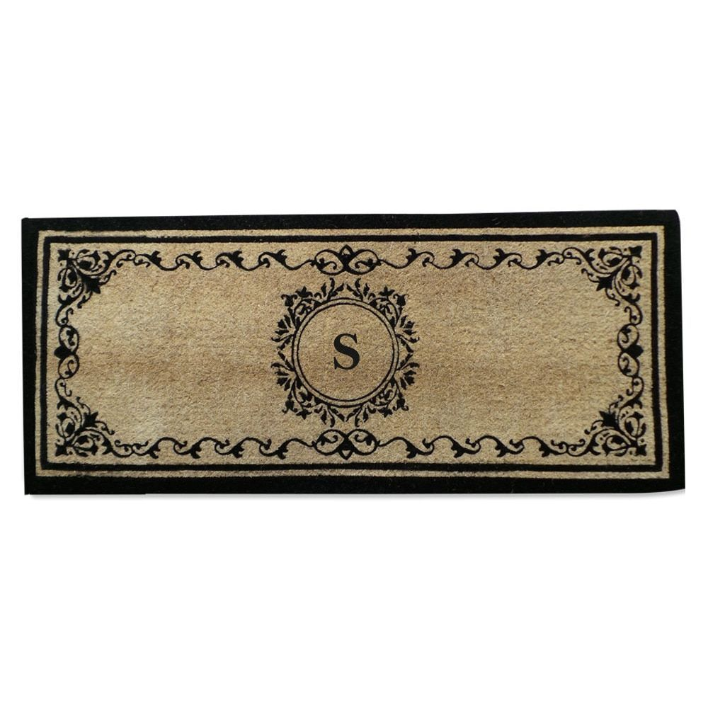 Coco Fibre Extra Thick Double Doormat-Monogrammed (2' x 4'9) (Monogrammed S), Black (Coir)