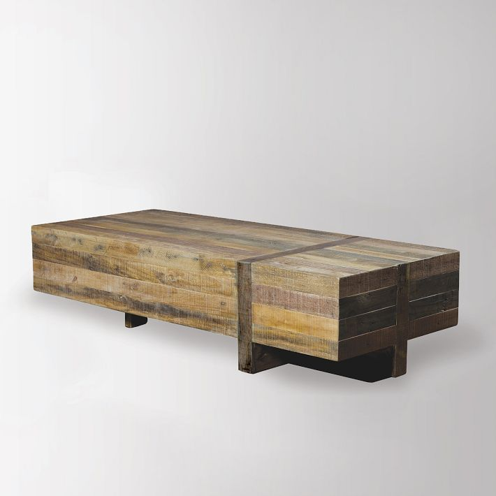 Reclaimed Pine Block Coffee Table Natural Coffee Table Reclaimed Wood Dining Table West Elm Coffee Table