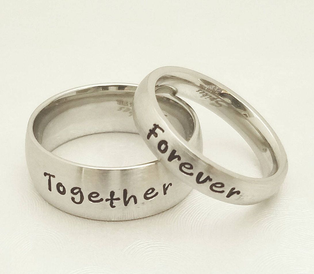 Couples Engraved rings, Couples Rings, His & Her Ring set, Couples ...