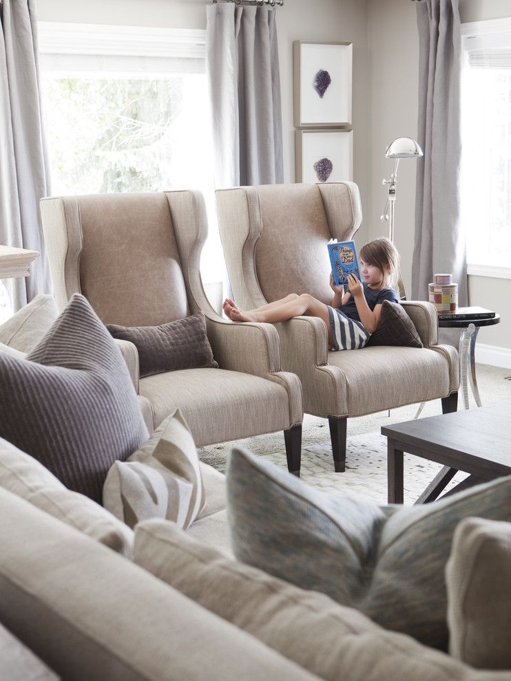 Beautiful Wingback Chair In Family Room Transitional With Odd Shaped Rooms Next To Nicole Miller Furniture Ideas Alongside Leather Sofa Fabric Chairs