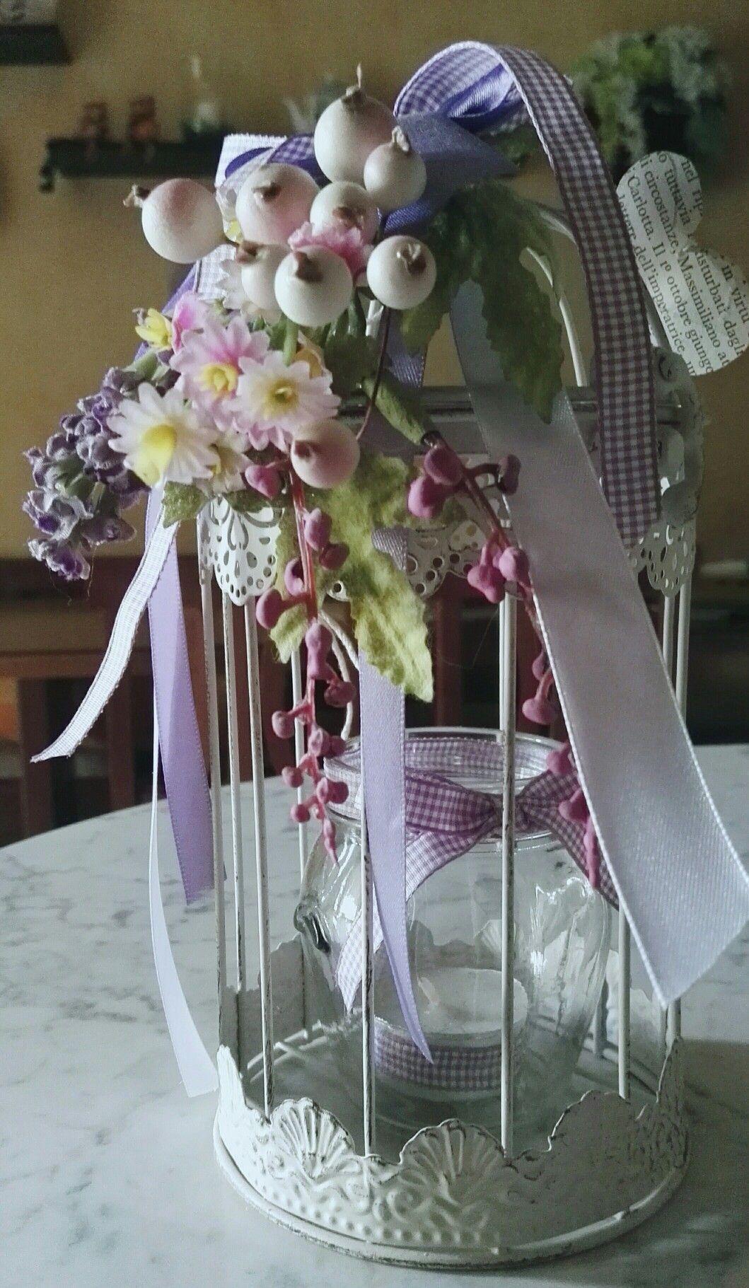 Gabbietta portacandela decorata con fiori e nastri by for Grieco mobili