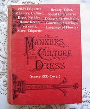 c1891 Victorian Etiquette Book Manners Culture and Dress Toilet Sex Deportment Fashion Language Poetry of Flowers SCARCE RED COVER near FINE Condition