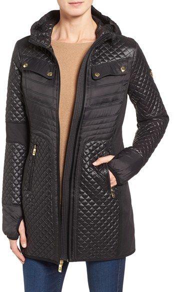 c558cd975899b Women s Michael Michael Kors Mixed Media Hooded Zip Front Coat   A ...
