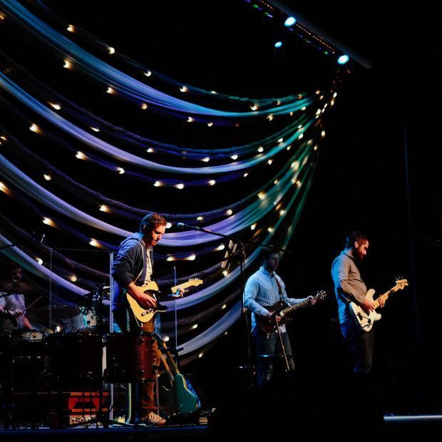 swags of lights church stage design ideas - Concert Stage Design Ideas