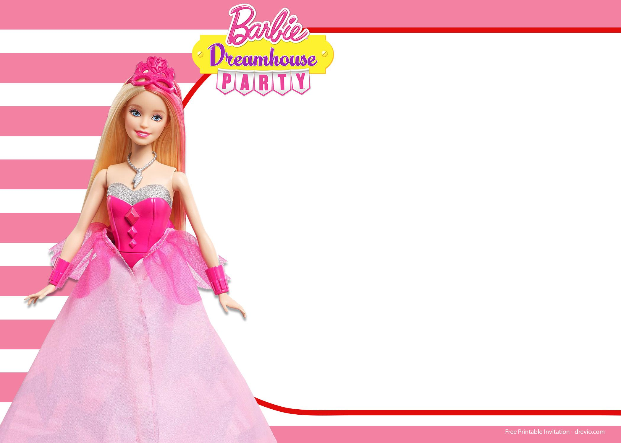 free barbie birthday invitation