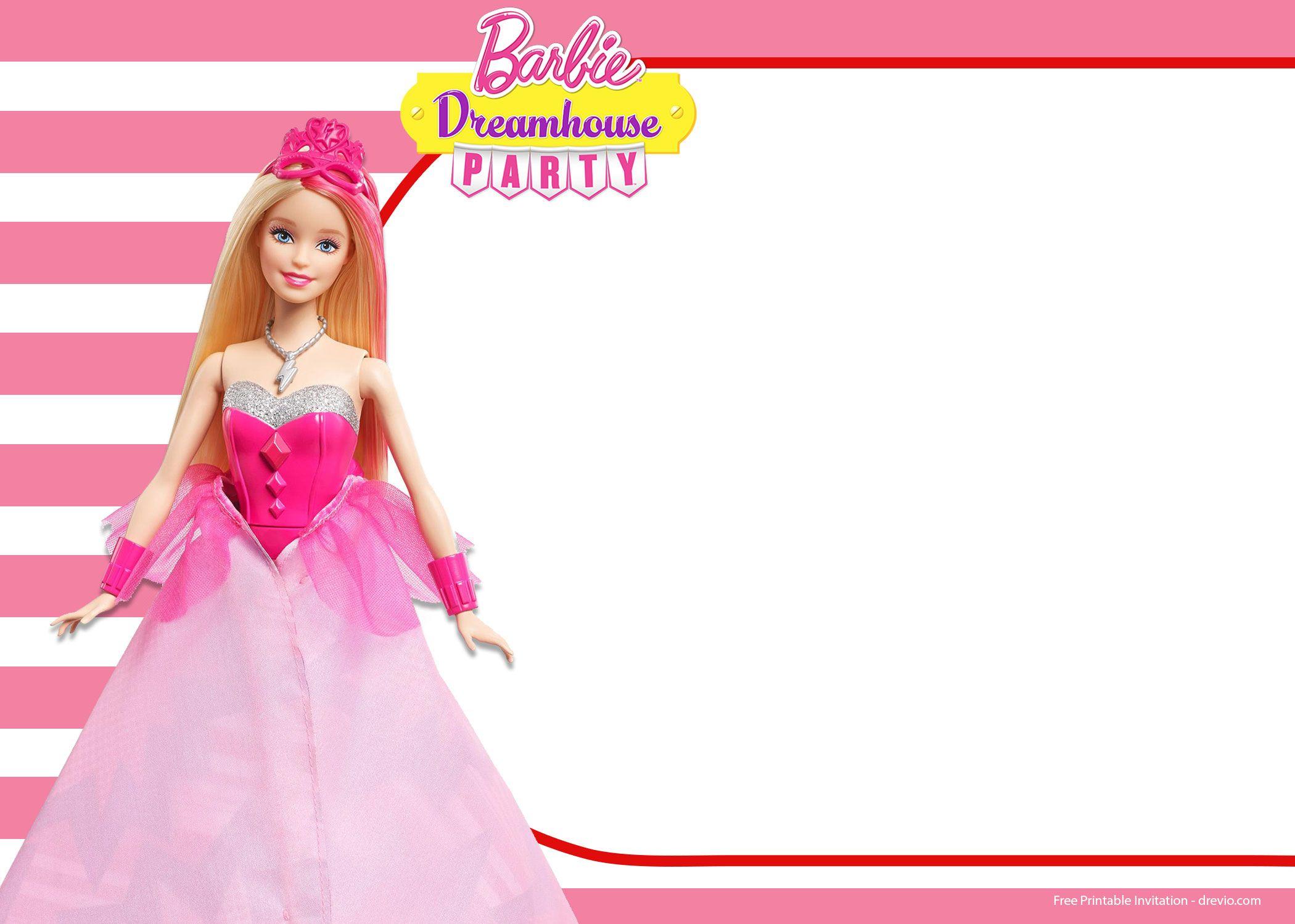 free barbie birthday invitation