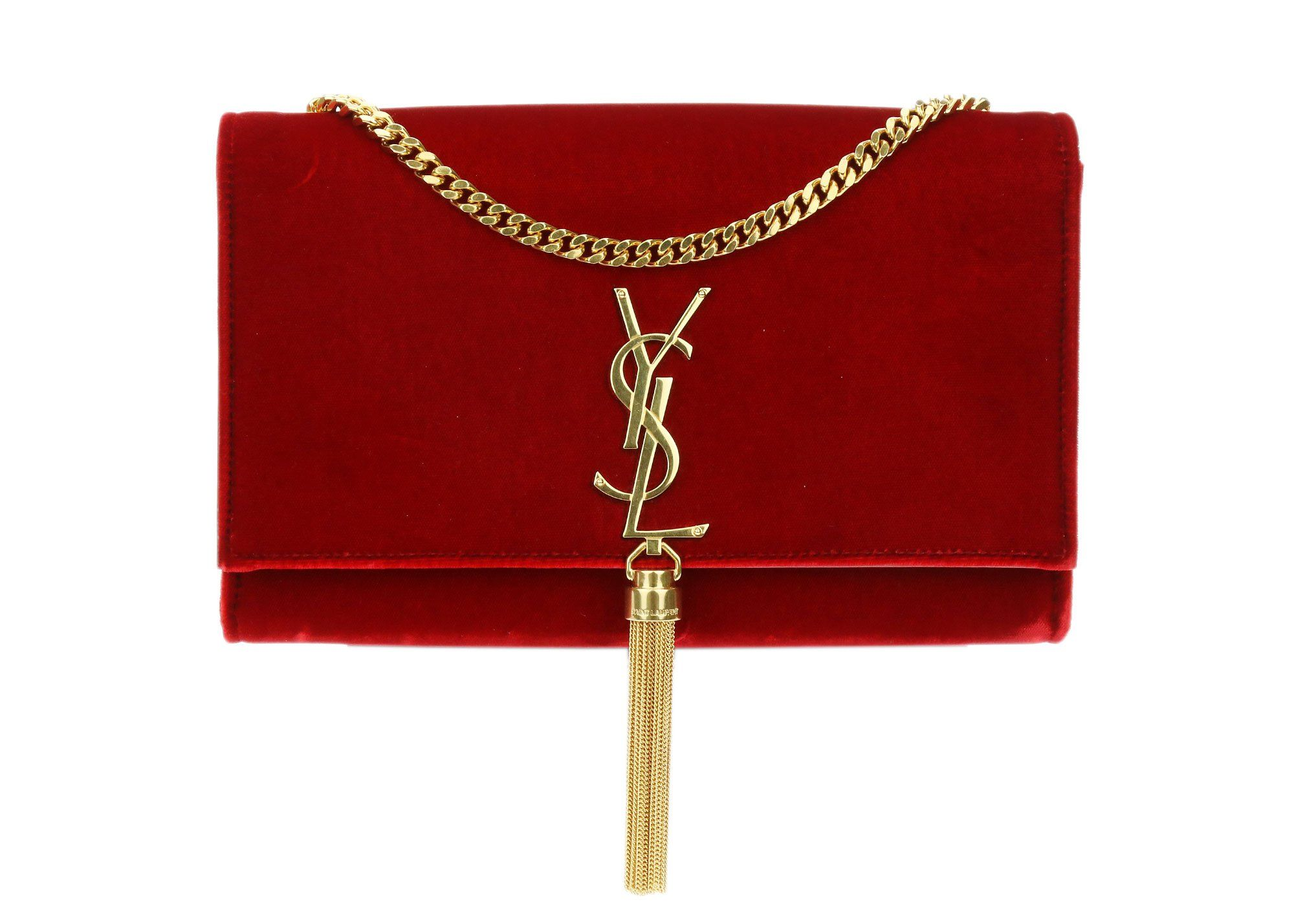 53b2dc2cb6a YSL Saint Laurent Rouge Velvet Monogram Kate Tassel Crossbody is this  season's it bag! Featured in red velvet this bag is also perfect for the  upcoming ...