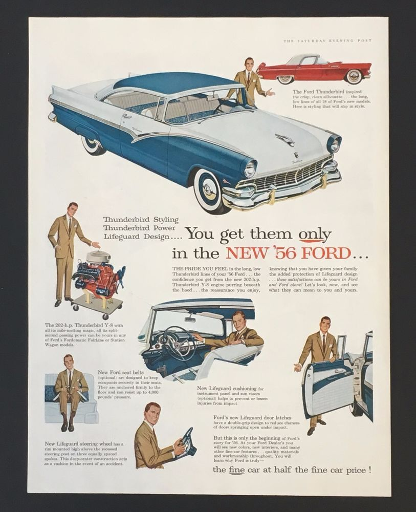 1956 Ford Fairlane Thunderbird Original Advertisement Artwork 1955 Car Seat Belts