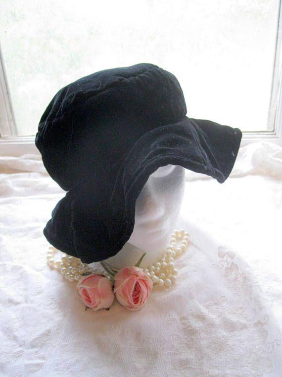 e0aa8113c5d Vintage Black Velvet Hat Medium to Large Floppy Black Dress