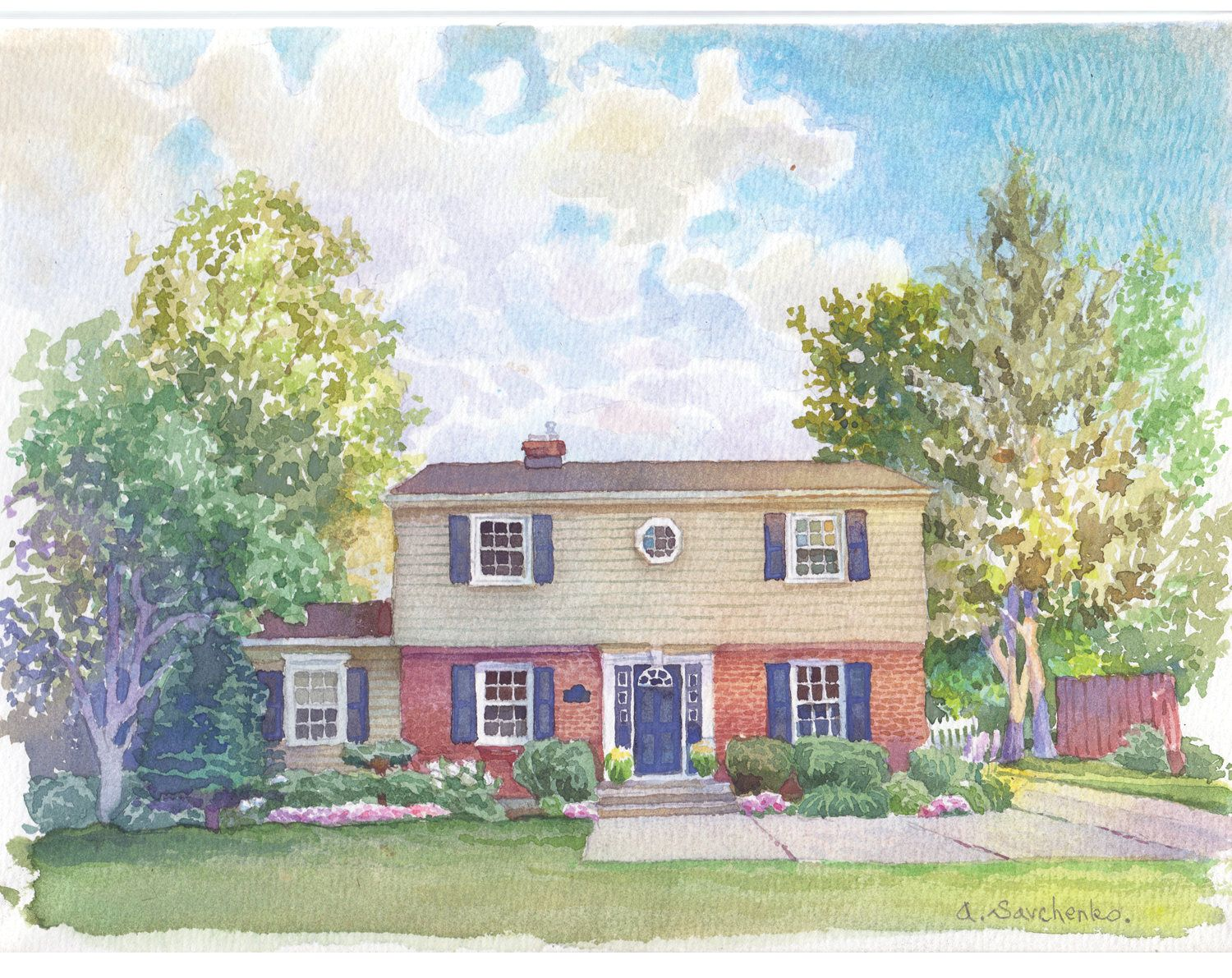 Watercolor House Painting Custom Home Painting Painting Of My