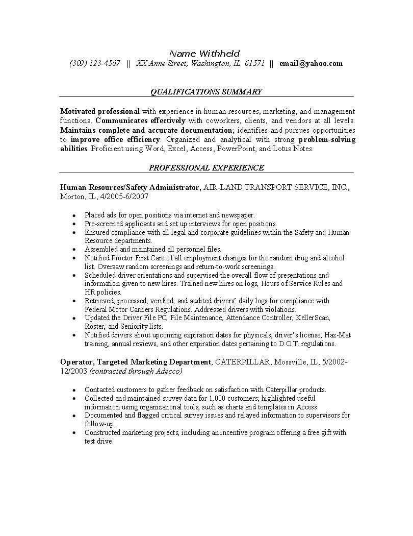 resume examples for safety professionals human resources resume example sample resumes for the hr - Sample Entry Level Resume Templates