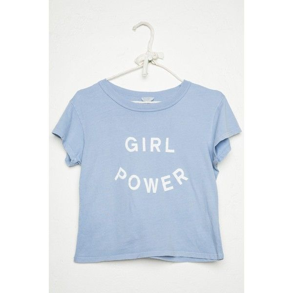 Ali Girl Power Top (66.195 COP) ❤ liked on Polyvore featuring tops, t-shirts, graphic tees, cropped graphic tees, crop t shirt, graphic print t shirts and blue top