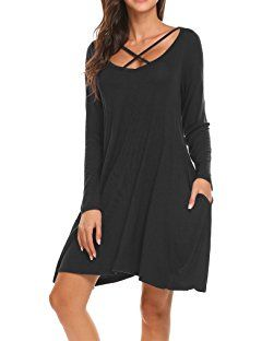 88b95f75bf Sherosa Women s Plain Cross Front Long Sleeve Pockets Casual Swing Tunic  T-shirt Dress