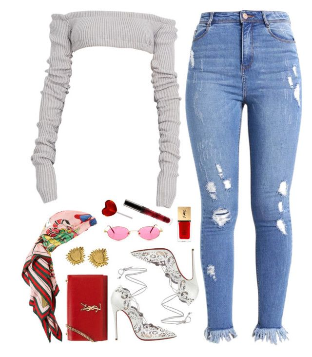 """""""Bodak Yellow """" by love-rebelwolf ❤ liked on Polyvore featuring Gucci, Christian Louboutin and Yves Saint Laurent"""