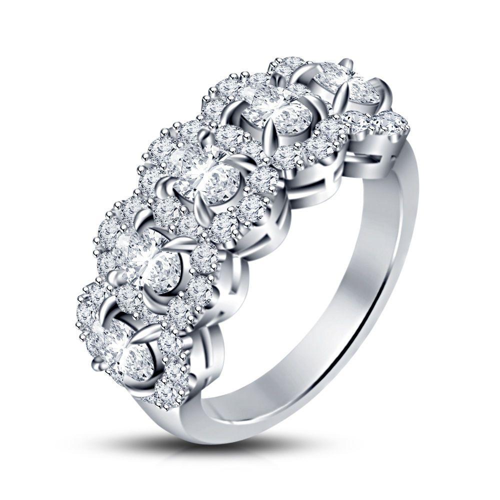 1.26 Carat Five-Stone Sim Diamond Engagement Wedding Ring in 14K White Gold FN #br925 #FiveStoneEngagementRing