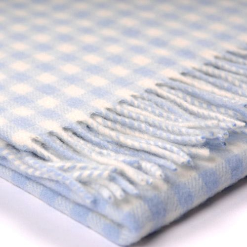Gingham Checked Lambswool Baby Blanket