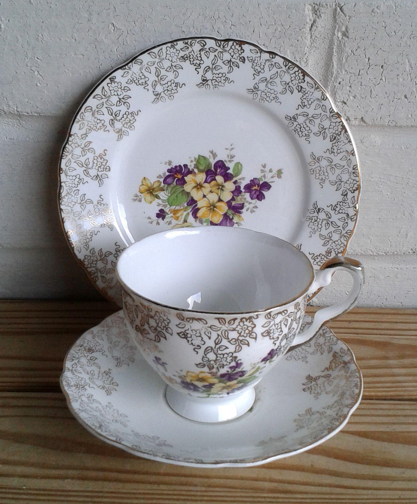 Vintage pansy print bone china teacup trio - Elsie Rose Homewares