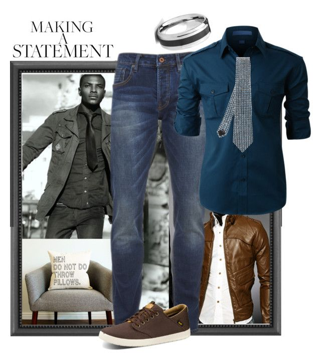 """""""Jeans and a tie. Inspo #jamesolson #supergirl"""" by thesouthernsnowflake ❤ liked on Polyvore featuring West Coast Jewelry, Scotch & Soda, Teva, LE3NO, Giorgio Armani, men's fashion, menswear, supergirl, jamesolson and Jimmyolson"""