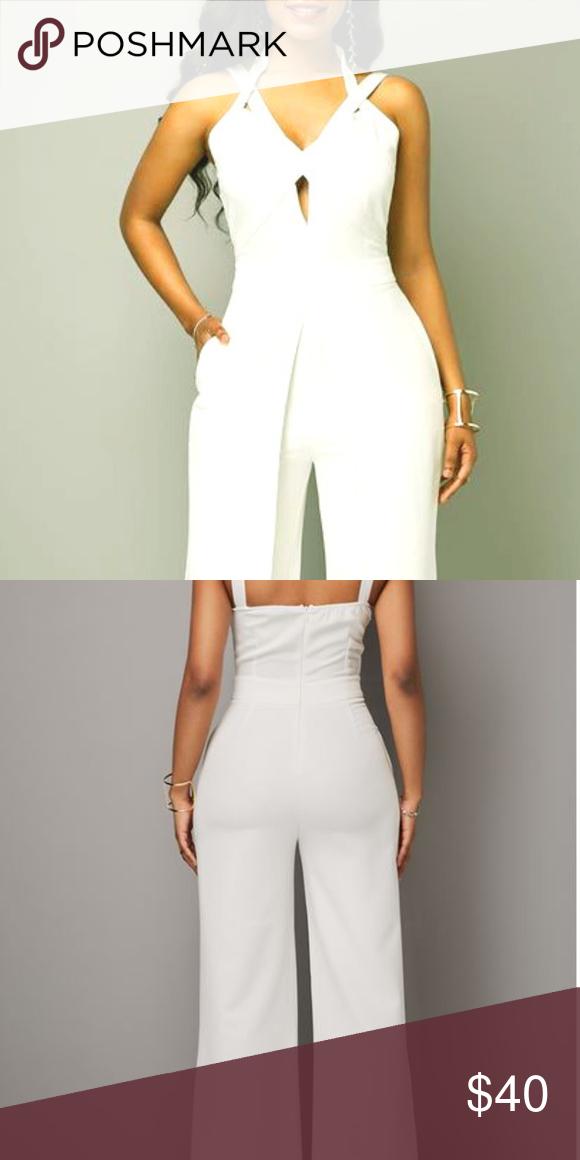 e4b379591f1 Open Back Solid White Overlap Jumpsuit Open Back Solid White Overlap  Jumpsuit Other