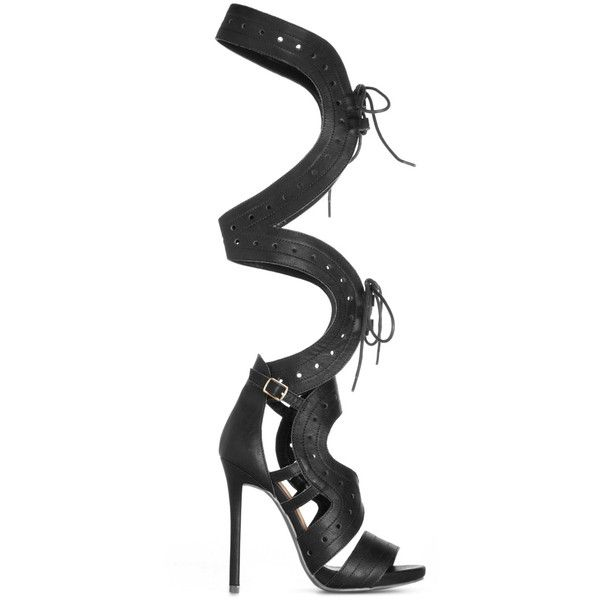 ShoeDazzle Sandals-Dressy - Single Sole Nanda Womens Black ❤ liked on Polyvore featuring shoes, sandals, black, sandals-dressy - single sole, black dressy shoes, dressy shoes, cut out lace up sandals, party shoes and black shoes