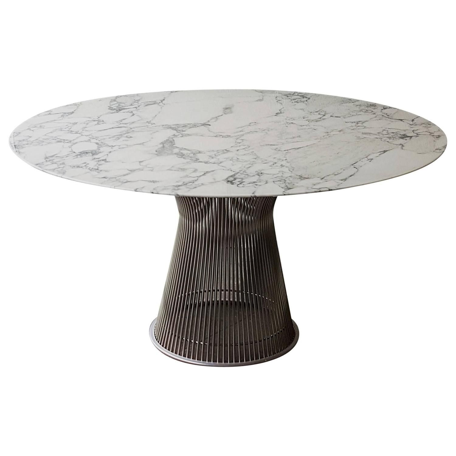 Warren Platner for Knoll Arabescato Marble Top Dining Table