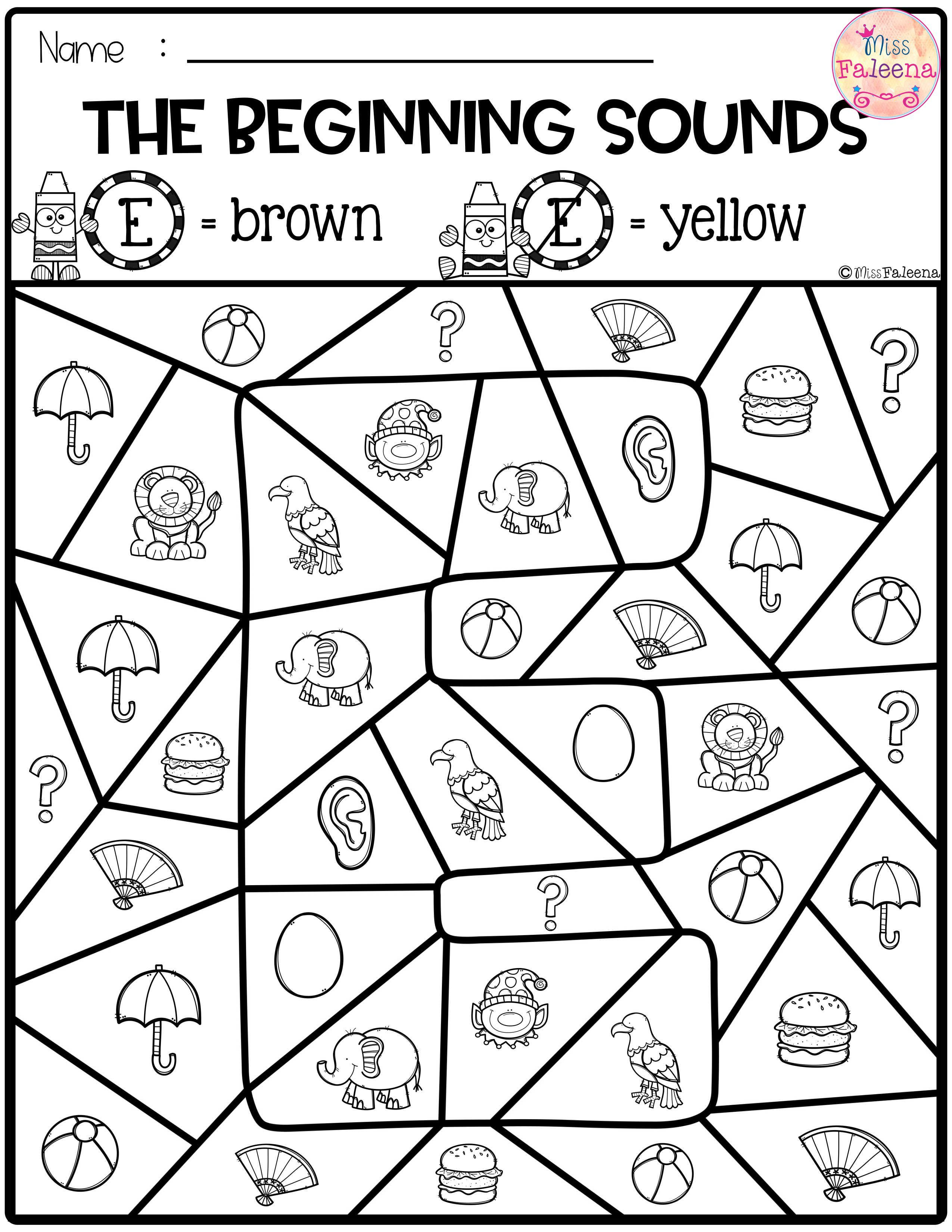Color By Beginning Sounds Beginning Sounds Beginning Sounds Worksheets Word Work Centers [ 3300 x 2550 Pixel ]