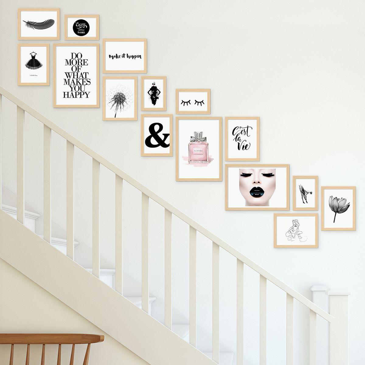 Wandgestaltung Treppenaufgang Gestalten: Bilderwand Treppe Modern Natur Aus MDF 15er Bilderrahmen