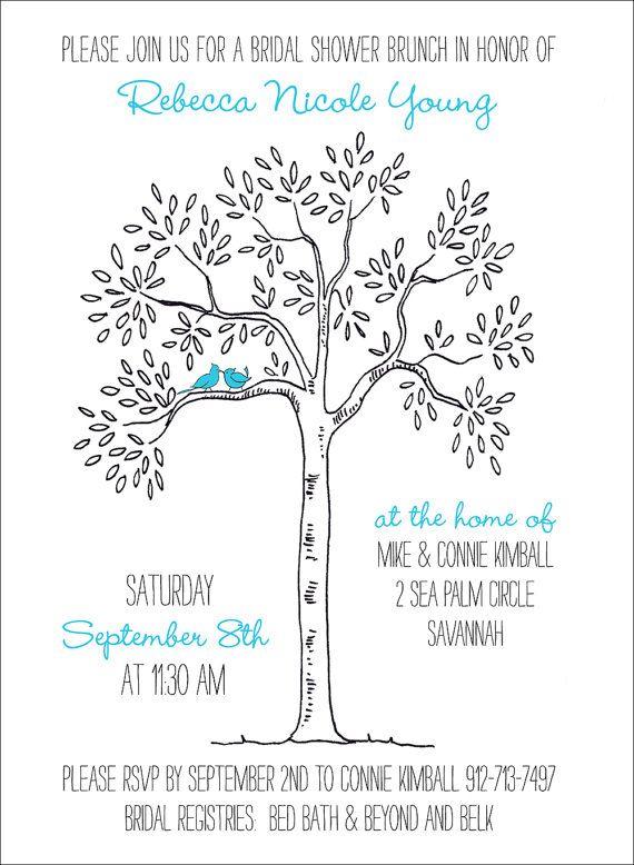 love bird bridal shower invitation tree themed by theinklab