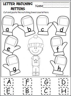 mitten passende buchstaben a-h / one planet photos | alphabet für vorschulkinder, kinder
