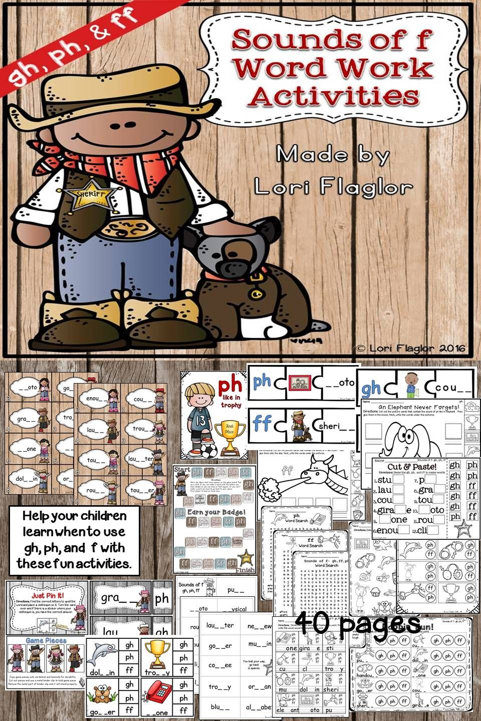 worksheet Ff Phonics Worksheets sounds of f gh ph ff word work activites worksheets and 40 pages activities for your children to master the f