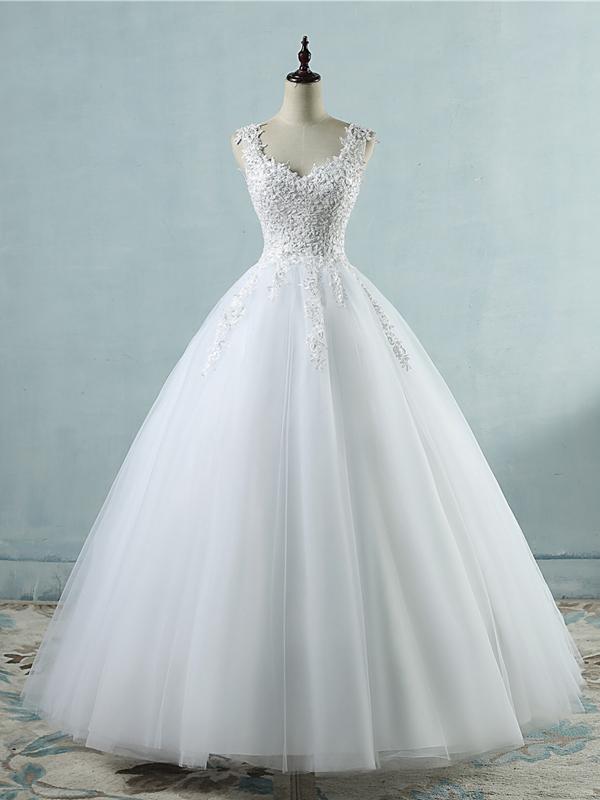 Beautiful White Tulle V-neckline Long Wedding Gown, Charming Bridal Gown – WEDDING IDEA / Noiva e Casamento (bride and wedding)