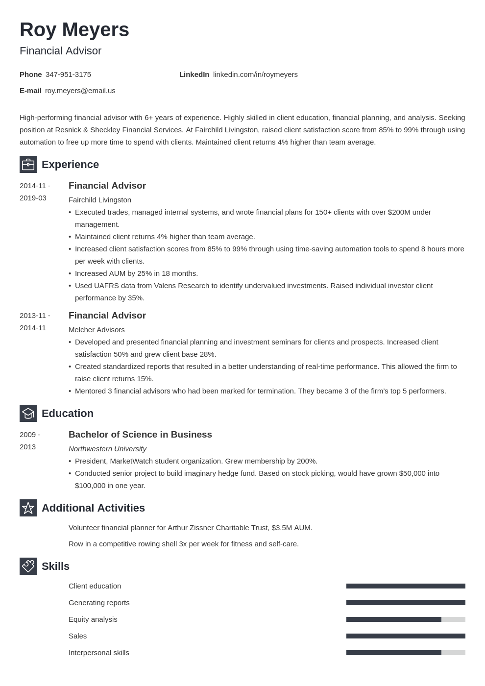 financial advisor resume example template newcast in 2020
