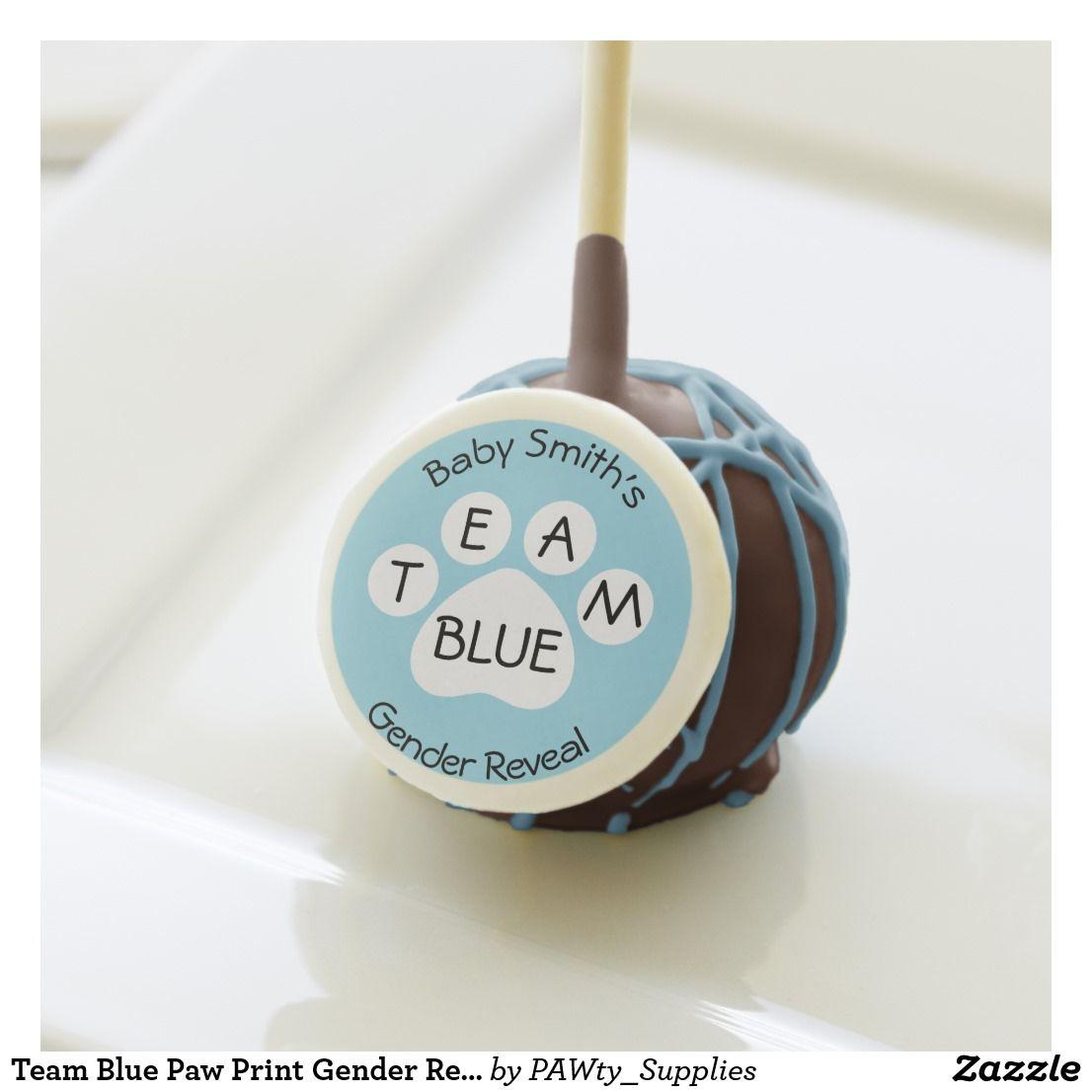 Team Blue Paw Print Gender Reveal Cake Pops Zazzle Com Gender Reveal Cake Pops Gender Reveal Cake Cake Pop Displays