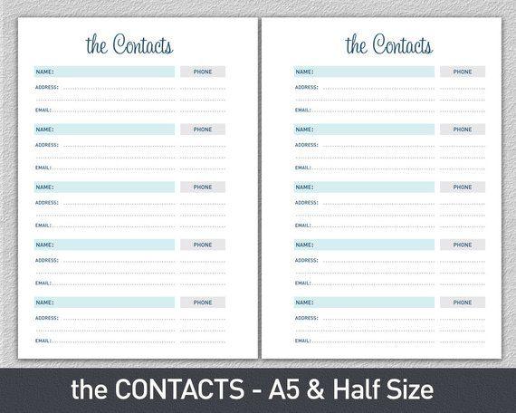 printable contact list sheet