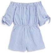 AQUA Girls' Striped Off the Shoulder Romper - Sizes S-XL - 100% Exclusive