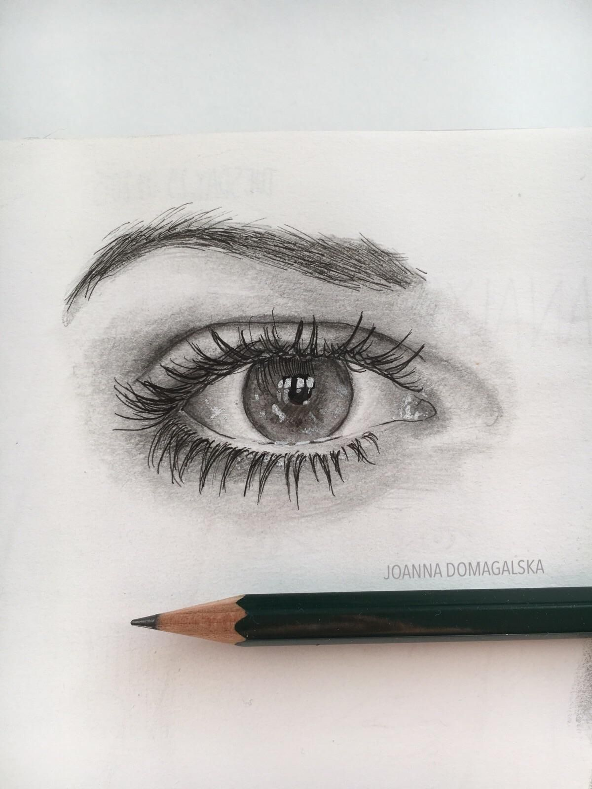 Graphite pencil drawing of my classmates eye