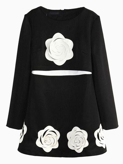 Black Embossed Floral Shift Dress